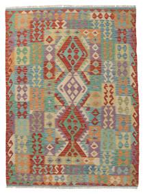 Kelim Afghan Old Style Matto 144X200 Itämainen Käsinkudottu Tummanvihreä/Tummanpunainen (Villa, Afganistan)