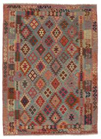 Kelim Afghan Old Style Matto 180X242 Itämainen Käsinkudottu Tummanruskea/Tummanvihreä (Villa, Afganistan)