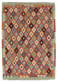 Kelim Afghan Old Style Matto 128X178 Itämainen Käsinkudottu Tummanpunainen/Beige (Villa, Afganistan)