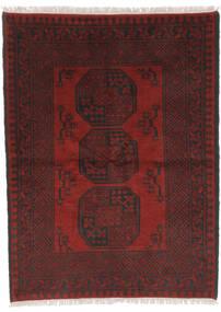 Afghan Matto 98X143 Itämainen Käsinsolmittu Musta/Tummanpunainen (Villa, Afganistan)