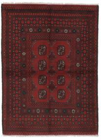 Afghan Matto 100X138 Itämainen Käsinsolmittu Musta (Villa, Afganistan)