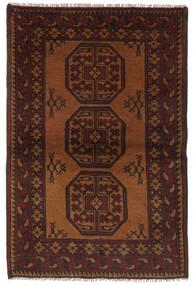 Afghan Matto 93X145 Itämainen Käsinsolmittu Musta/Tummanruskea (Villa, Afganistan)