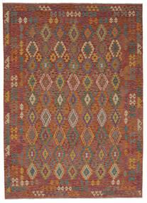 Kelim Afghan Old Style Matto 256X358 Itämainen Käsinkudottu Tummanruskea Isot (Villa, Afganistan)