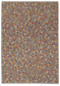 Kelim Afghan Old Style Matto 202X292 Itämainen Käsinkudottu Tummanruskea/Tummanharmaa (Villa, Afganistan)