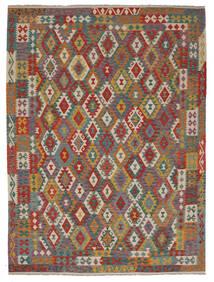 Kelim Afghan Old Style Matto 257X343 Itämainen Käsinkudottu Tummanruskea/Tummanvihreä Isot (Villa, Afganistan)