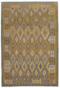 Kelim Afghan Old Style Matto 198X295 Itämainen Käsinkudottu Tummanruskea/Ruskea (Villa, Afganistan)