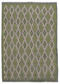 Kelim Afghan Old Style Matto 209X296 Itämainen Käsinkudottu Tummanharmaa/Tummanvihreä (Villa, Afganistan)