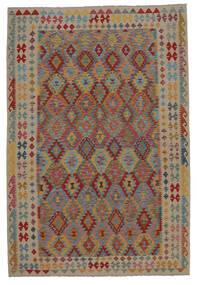 Kelim Afghan Old Style Matto 201X302 Itämainen Käsinkudottu Tummanruskea/Ruskea (Villa, Afganistan)