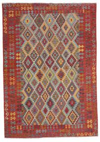 Kelim Afghan Old Style Matto 207X295 Itämainen Käsinkudottu Tummanruskea (Villa, Afganistan)
