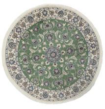 Nain Matto Ø 150 Itämainen Käsinsolmittu Pyöreä Valkoinen/Creme/Tummanvihreä (Villa, Persia/Iran)