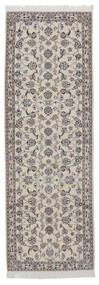 Nain 9La Matto 92X270 Itämainen Käsinsolmittu Käytävämatto Tummanharmaa/Vaaleanharmaa (Villa/Silkki, Persia/Iran)