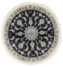 Nain Matto Ø 100 Itämainen Käsinsolmittu Pyöreä Musta/Valkoinen/Creme (Villa, Persia/Iran)
