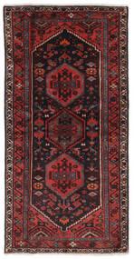Hamadan Matto 100X197 Itämainen Käsinsolmittu Musta/Tummanpunainen (Villa, Persia/Iran)