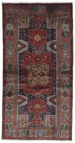 Hamadan Matto 100X193 Itämainen Käsinsolmittu Musta/Tummanruskea (Villa, Persia/Iran)