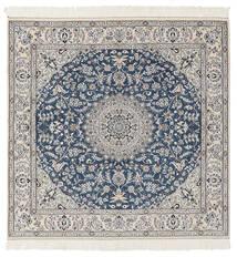Nain 9La Matto 146X148 Itämainen Käsinsolmittu Neliö Tummanharmaa/Vaaleanharmaa (Villa/Silkki, Persia/Iran)
