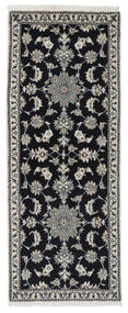 Nain Matto 77X195 Itämainen Käsinsolmittu Käytävämatto Musta/Valkoinen/Creme (Villa, Persia/Iran)