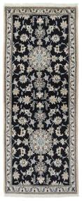 Nain Matto 77X194 Itämainen Käsinsolmittu Käytävämatto Musta/Tummanharmaa (Villa, Persia/Iran)
