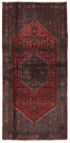 Hamadan Matto 102X212 Itämainen Käsinsolmittu Musta/Tummanruskea (Villa, Persia/Iran)