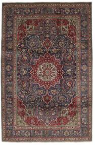 Tabriz Matto 210X310 Itämainen Käsinsolmittu Musta/Tummanruskea (Villa, Persia/Iran)