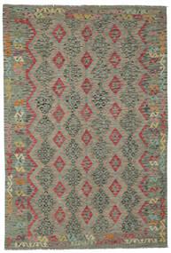 Kelim Afghan Old Style Matto 202X294 Itämainen Käsinkudottu Tummanvihreä (Villa, Afganistan)