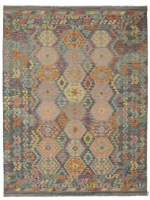 Kelim Afghan Old Style Matto 183X242 Itämainen Käsinkudottu Tummanvihreä/Tummanruskea (Villa, Afganistan)