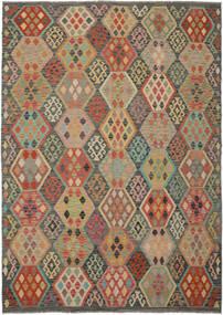 Kelim Afghan Old Style Matto 213X295 Itämainen Käsinkudottu Tummanvihreä/Tummanruskea (Villa, Afganistan)