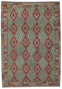 Kelim Afghan Old Style Matto 208X296 Itämainen Käsinkudottu Tummanvihreä/Tummanruskea (Villa, Afganistan)
