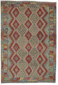 Kelim Afghan Old Style Matto 206X299 Itämainen Käsinkudottu Tummanvihreä/Tummanruskea (Villa, Afganistan)