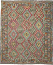 Kelim Afghan Old Style Matto 250X299 Itämainen Käsinkudottu Tummanvihreä/Tummanruskea Isot (Villa, Afganistan)