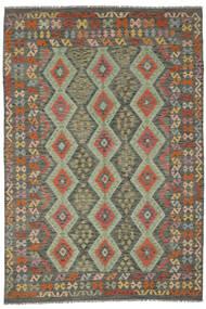 Kelim Afghan Old Style Matto 200X291 Itämainen Käsinkudottu Tummanvihreä/Tummanruskea (Villa, Afganistan)