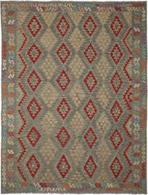 Kelim Afghan Old Style Matto 265X344 Itämainen Käsinkudottu Tummanruskea/Tummanvihreä Isot (Villa, Afganistan)
