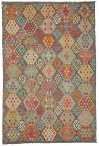 Kelim Afghan Old Style Matto 198X298 Itämainen Käsinkudottu Tummanruskea/Tummanvihreä (Villa, Afganistan)