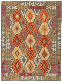 Kelim Afghan Old Style Matto 145X193 Itämainen Käsinkudottu Tummanvihreä/Tummanruskea (Villa, Afganistan)