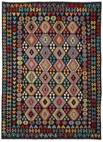 Kelim Afghan Old Style Matto 253X346 Itämainen Käsinkudottu Musta/Tummanharmaa Isot (Villa, Afganistan)