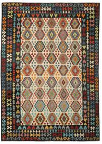 Kelim Afghan Old Style Matto 251X347 Itämainen Käsinkudottu Musta/Tummanruskea Isot (Villa, Afganistan)