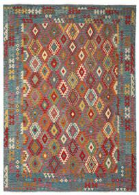 Kelim Afghan Old Style Matto 251X352 Itämainen Käsinkudottu Tummanruskea/Tumma Turkoosi Isot (Villa, Afganistan)