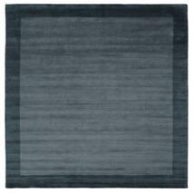 Handloom Frame - Petrol Sininen Matto 300X300 Moderni Neliö Musta/Tummansininen Isot (Villa, Intia)