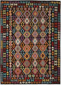 Kelim Afghan Old Style Matto 261X357 Itämainen Käsinkudottu Musta/Tummanruskea Isot (Villa, Afganistan)