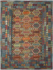 Kelim Afghan Old Style Matto 304X395 Itämainen Käsinkudottu Musta/Tummanvihreä Isot (Villa, Afganistan)
