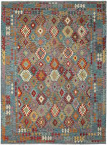 Kelim Afghan Old Style Matto 254X344 Itämainen Käsinkudottu Tummanruskea/Tumma Turkoosi Isot (Villa, Afganistan)