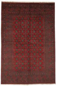 Afghan Matto 156X237 Itämainen Käsinsolmittu Musta/Tummanpunainen (Villa, Afganistan)