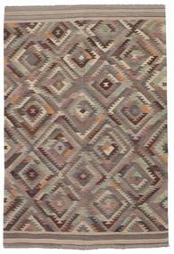Kelim Moderni Matto 202X296 Moderni Käsinkudottu Tummanruskea/Ruskea (Villa, Afganistan)