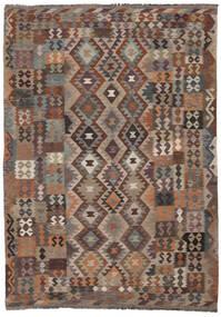 Kelim Moderni Matto 207X295 Moderni Käsinkudottu Tummanruskea/Musta (Villa, Afganistan)