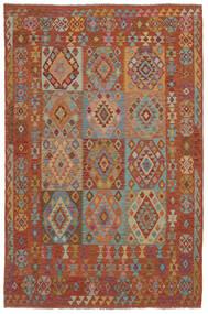 Kelim Afghan Old Style Matto 202X302 Itämainen Käsinkudottu Tummanruskea (Villa, Afganistan)