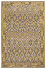 Kelim Afghan Old Style Matto 204X314 Itämainen Käsinkudottu Ruskea/Tummanruskea (Villa, Afganistan)
