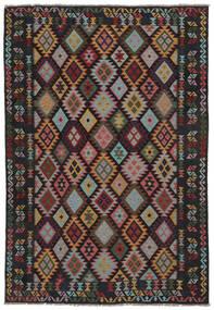Kelim Afghan Old Style Matto 207X299 Itämainen Käsinkudottu Musta/Tummanruskea (Villa, Afganistan)