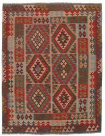 Kelim Afghan Old Style Matto 160X206 Itämainen Käsinkudottu Tummanruskea/Musta (Villa, Afganistan)