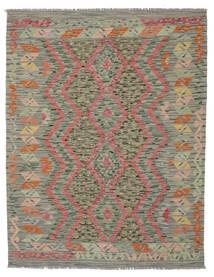 Kelim Afghan Old Style Matto 150X192 Itämainen Käsinkudottu Tummanvihreä/Valkoinen/Creme (Villa, Afganistan)