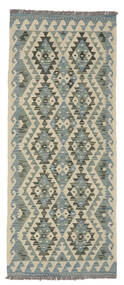 Kelim Afghan Old Style Matto 79X193 Itämainen Käsinkudottu Käytävämatto Vaaleanvihreä/Tummanvihreä (Villa, Afganistan)