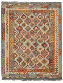 Kelim Afghan Old Style Matto 154X192 Itämainen Käsinkudottu Tummanruskea/Tummanvihreä (Villa, Afganistan)